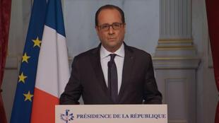 Copie d'écran de l'allocution radio-télévisée prononcée par François Hollande ce vendredi 13 novembre.