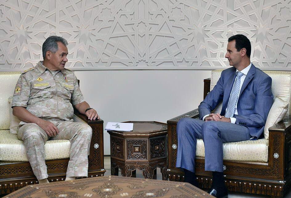 Министр обороны РФ Сергей Шойгу и президент Сирии Башар Асад, Дамаск, 12 сентября 2017.