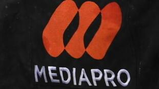 Logo du groupe audiovisuel espagnol, Mediapro, lors du match de L1 entre le Paris Saint-Germain et Lyon, le 13 décembre 2020 au Parc des Princes