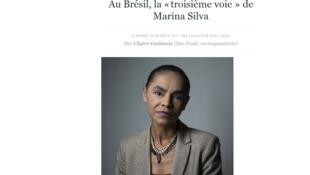 """Para Le Monde, Marina Silva representa """"terceira via"""" para a política brasileira."""