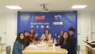 Anne-Emmanuelle Hasseri, membre de l'Association Tunisienne des Femmes Démocrates; Amal Yacoubi, juriste et membre de EuroMed Droits. A droite d'Emmanuelle Bastide: Nadia Benzarti, directrice du foyer d'hébergement Beity; Skander Boubaker, vice-président.