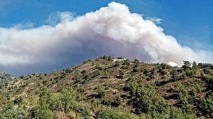 Feu de forêt à Chypre