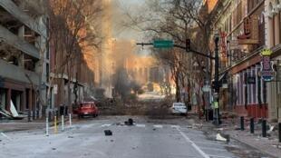 Nashville, Tennessee, tras una explosión el 25 de diciembre