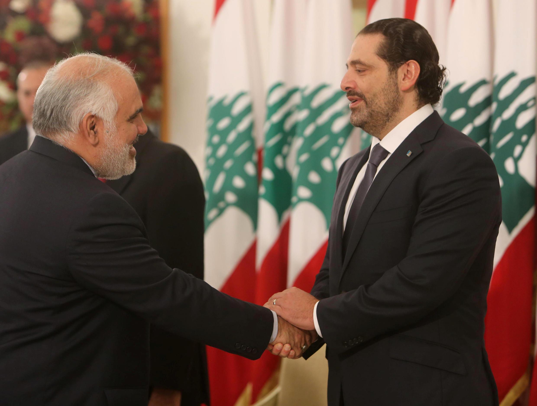 Le Premier ministre libanais Saad Hariri, en compagnie de l'ambassadeur iranien à Beyrouth, Mohammad Fathali, mercredi 22 novembre 2017.