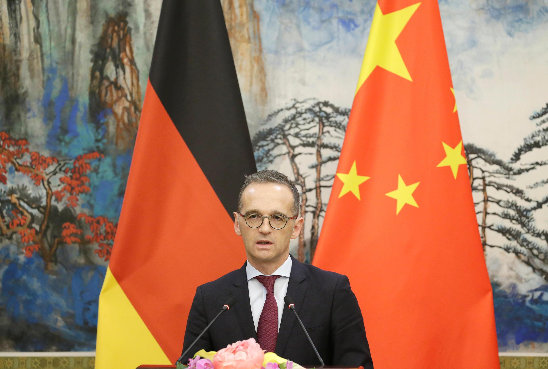 德國外長馬斯在北京的新聞發布會上 2018年11月13日