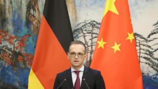 德国外长马斯在北京的新闻发布会上 2018年11月13日