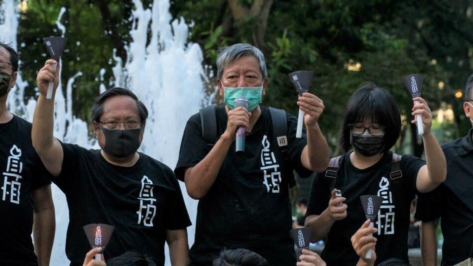 10.9 左起:何俊仁、李卓人及鄒幸彤要求平反六四,被控煽動顛覆(資料圖片)