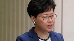 Carrie Lam, administradora de Hong Kong durante uma conferência de imprensa no dia 10 de Junho  de 2019