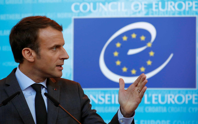 Tổng thống Pháp Emmanuel Macron phát biểu tại Hội Đồng Châu Âu, Strasbourg ngày 31/10/2017.