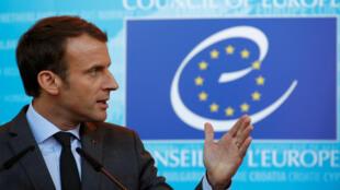 Tổng thống Pháp Emmanuel Macron phát biểu tại Hội Đồng Châu Âu, Strabourg ngày 31/10/2017.