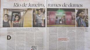 Reportagem de duas páginas no jornal Libération relata a iniciativa carioca de vagões de metrô para mulheres.
