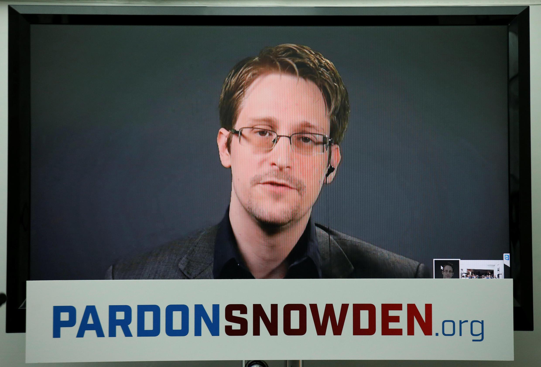 Le lanceur d'alerte Edward Snowden a tenu une conférence de presse par vidéo, le 14 septembre 2016.