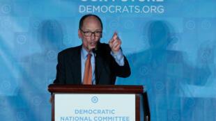 Tom Perez, novo líder dos Democratas americanos, durante discurso em Atlanta, no dia 25 de fevereiro de 2017.