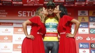 Rafael Reis, vencedor do prólogo da Volta a Portugal em bicicleta a 1 de Agosto de 2018.
