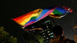 台湾一名挺同者挥舞彩虹色旗帜