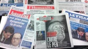 Capas dos jornais diários franceses de 17/12/15
