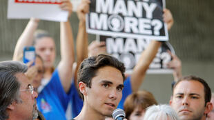 David Hogg, a student at the Marjory Stoneman Douglas school in Parkland, during a rally calling for more gun control, 17 February 2018.