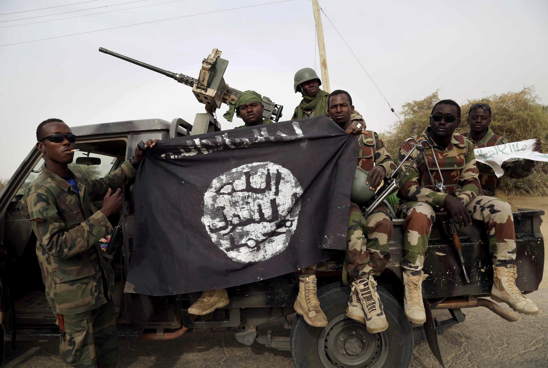 Wasu Sojin Najeriya bayan kwace garin Damasak daga hannun Boko Haram a shekarar 2015.