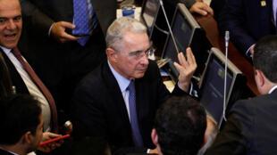 Colombie: le sénateur Alvaro Uribe lors de la prestation de serment des nouveaux membres du Congrès le 20 juillet 2018 à Bogota.