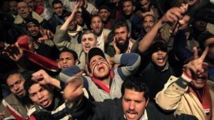 Crowds in Tahrir Square after Mubarak's speech.