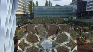Jardim efêmero visto do alto da passarela externa do Instituto do Mundo Árabe, em Paris.