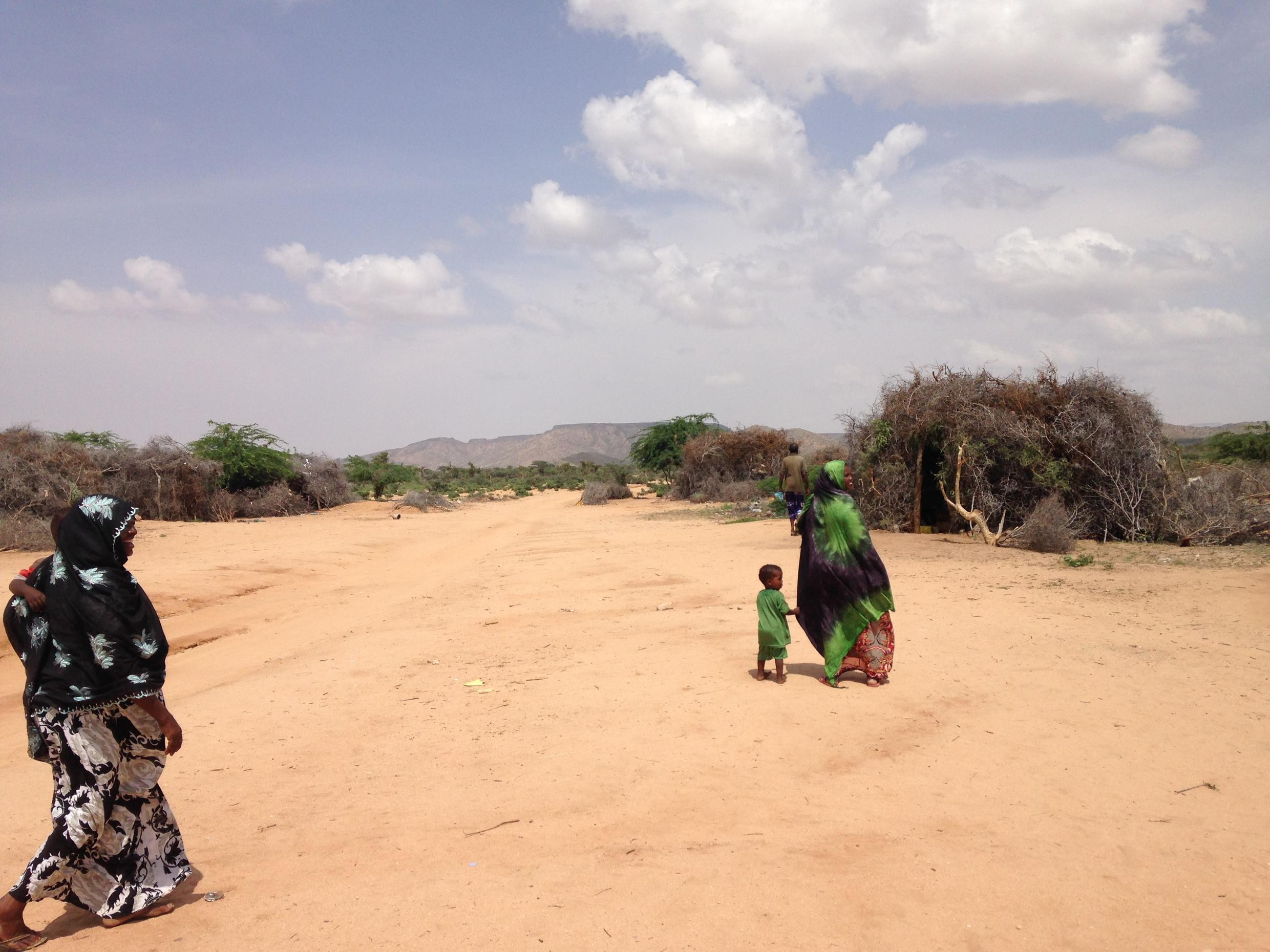 Pastoralists live by the side of the road in Bildaley village, Somaliland in order to get access to water
