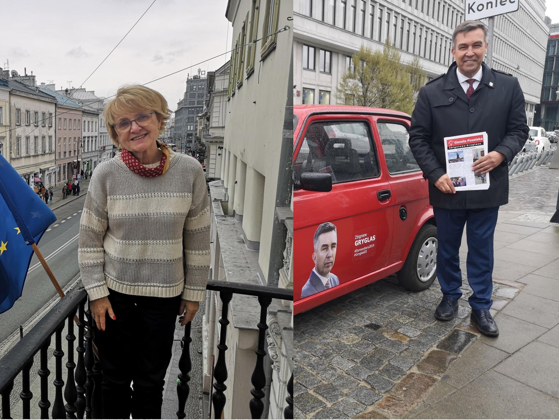 Le député Zbigniew Gryglas, candidat PIS aux européennes et Danuta Hübner, candidate à sa réélection sur la liste de la Coalition européenne à Varsovie.