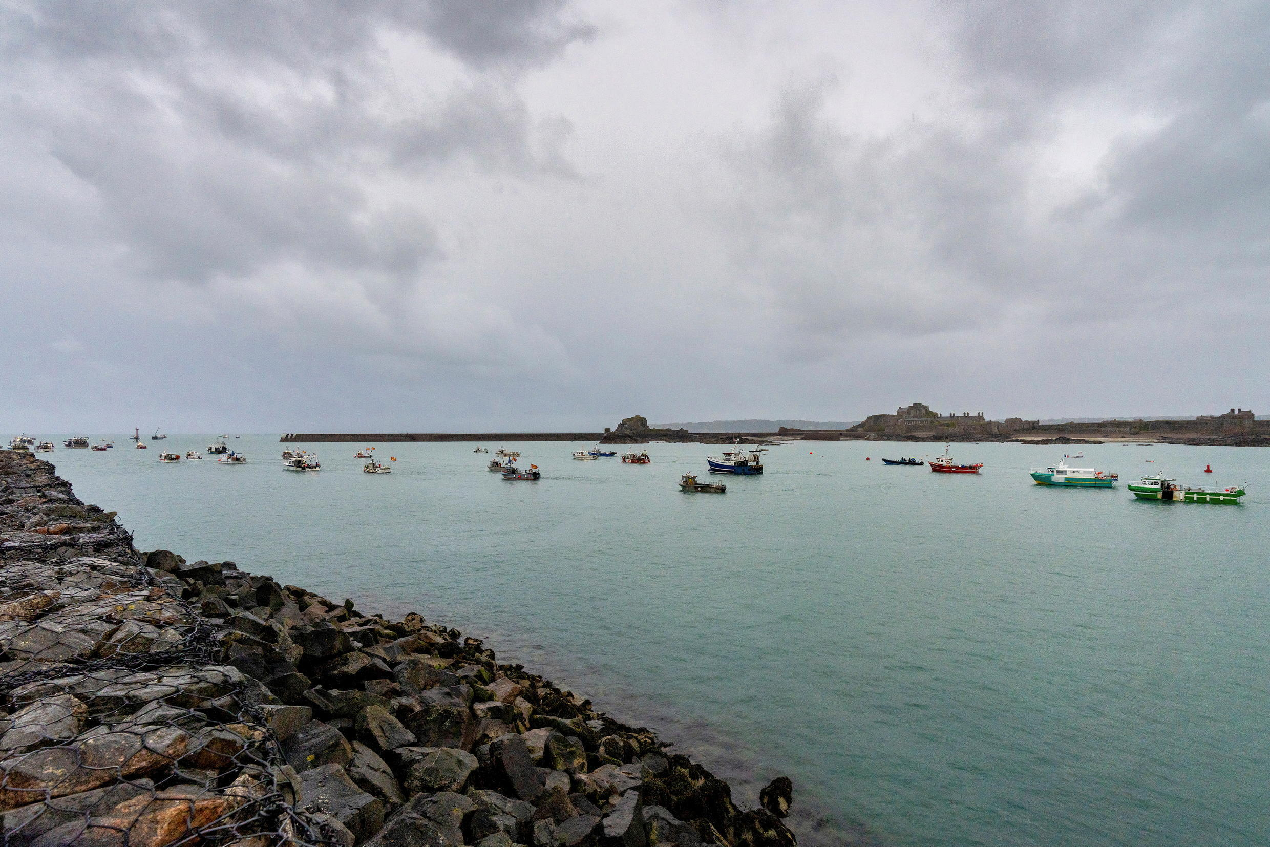 French fishing fleet is seen at the entrance to the harbour in St Helier Jersey