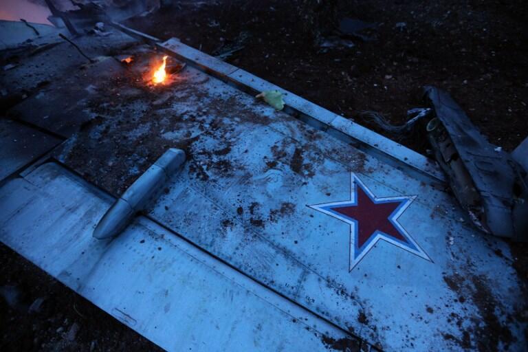 Mảnh vụn chiếc Sukhoi-25 do Roman Filipov điều khiển bị bắn hạ hôm 03/02/2018 tại tỉnh Idlib, Syria.