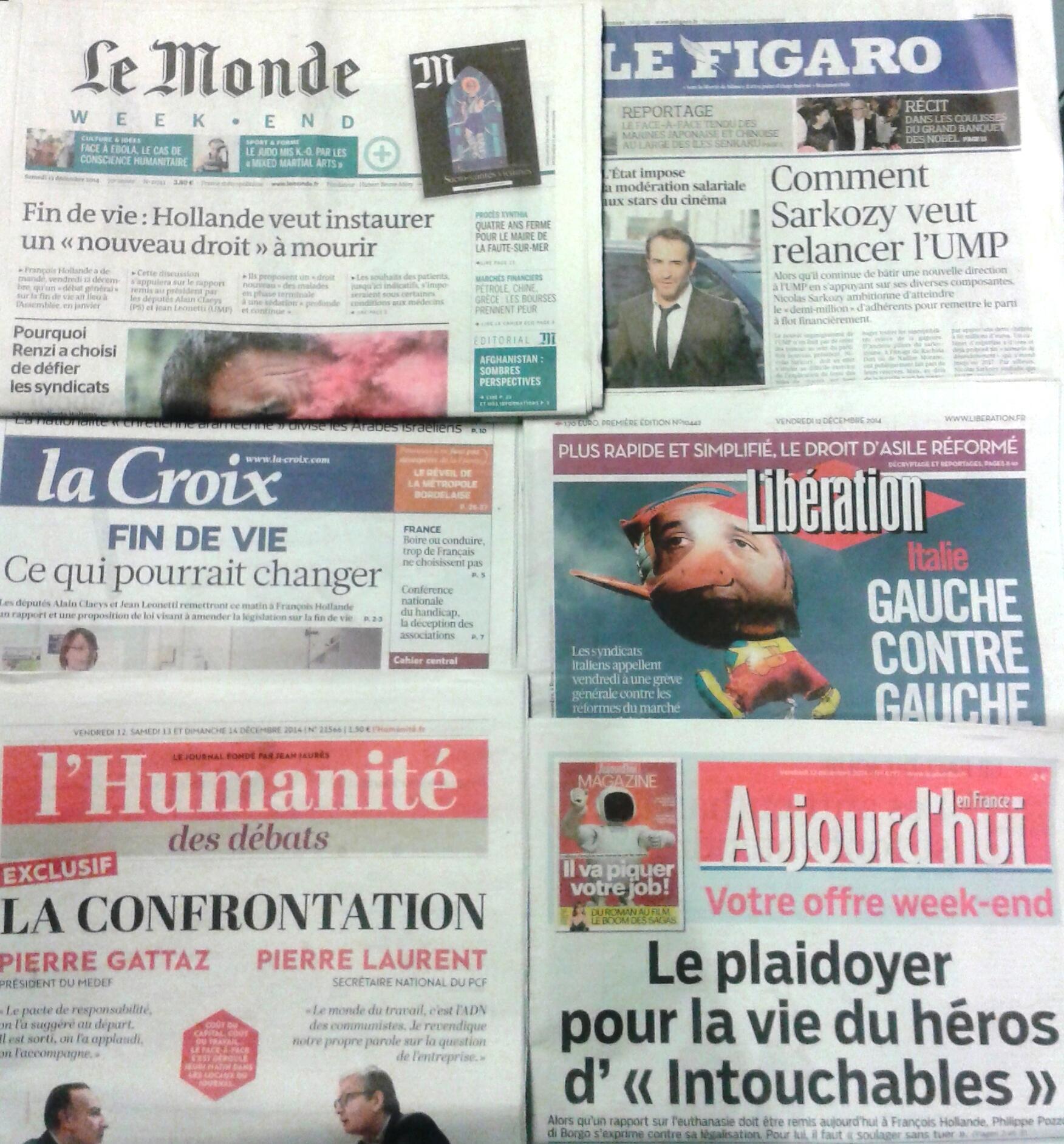 Imprensa francesa do dia 12/12/2014