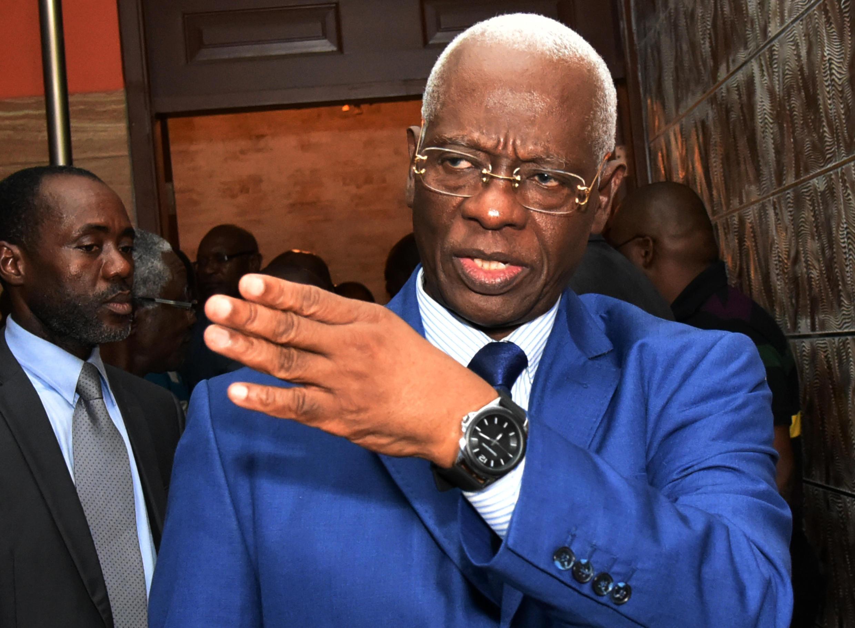 Aboudramane Sangaré, du Front populaire ivoirien (FPI), après un meeting avec la nouvelle coalition des partis d'opposition, le 18 mars 2015.