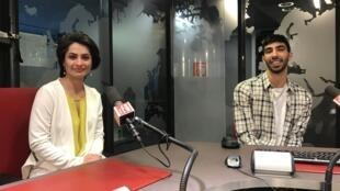 Marina Gulbahari, actriz afegã, e Joel Cartaxo Anjos, realizador português, na RFI a 19 de Fevereiro de 2019.