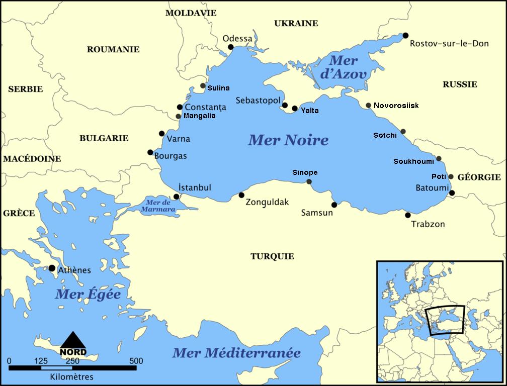 Bản đồ Biển Đen và 6 nước vùng ven: Gruzia, Thổ Nhĩ Kỳ, Bulgari, Rumani, Ukraina và Nga.