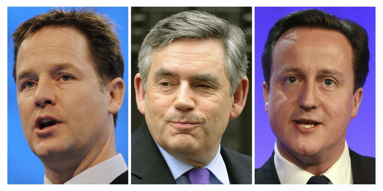 De gauche à droite : le leader des Libéraux-démocrates, Nick Clegg, le Premier ministre travailliste Gordon Brown, et le leader des conservateurs, David Cameron.