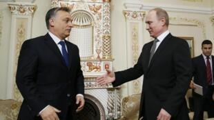 Владимир Путин принимает Виктора Орбана в резиденции в Ново-Огарево под Москвой 14/01/2014