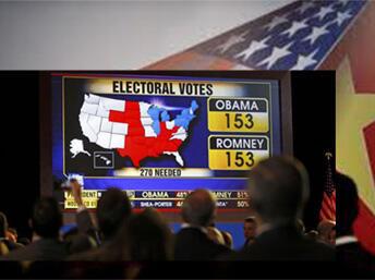 Cử tri đang theo dõi kết quả kiểm phiếu trên truyền hình (DR)