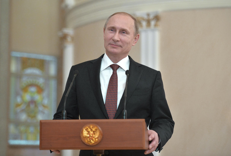 Владимир Путин на пресс-конференции по окончании минских переговоров 12/02/2015