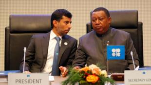 Le ministre des Energies des Emirats arabes unis et président de l'Opec Suhail Mohammed Faraj al-Mazroui (g) et le secrétaire général de l'Opec Mohammad Barkindo, le 6 décembre 2018, attendent l'ouverture de la réunion de l'Opec à Vienne.