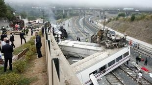 The scene of the accident near El Ferrol on the way to Santiago de Compostella