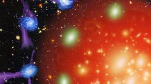 """A imagem mostra o halo imenso, e quente, que impede a formação de novas estrelas e """"estrangula"""" a galáxia."""