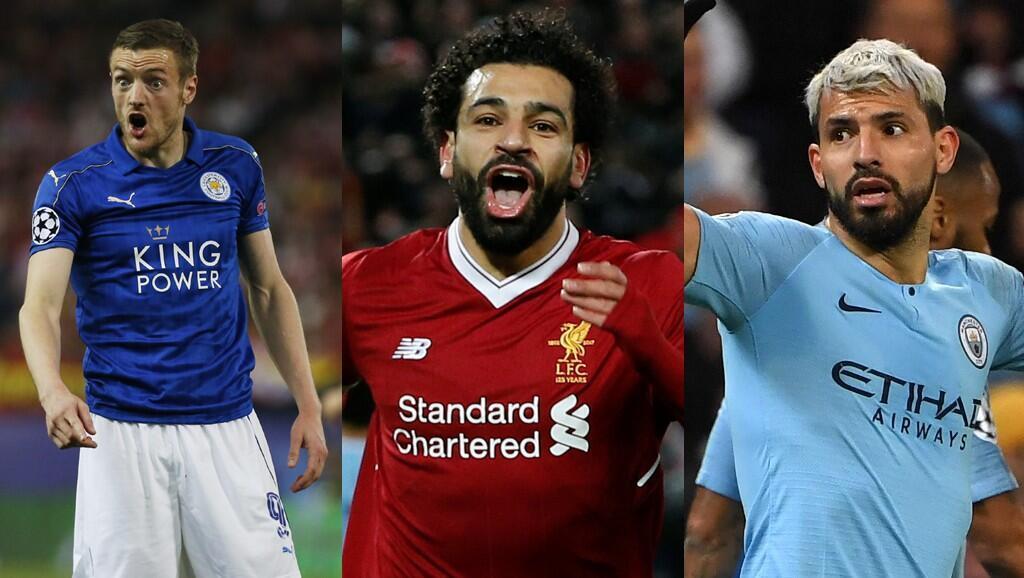 Photo montage des joueurs de Premier League: Jamie Vardy de Leicester, Mohamed Salah de Liverpool, Sergio Agüero de Manchester City.