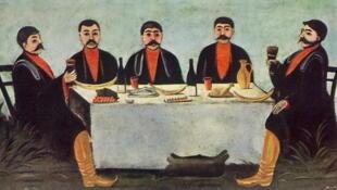 Нико Пиросмани «Кутеж пяти князей», 1906