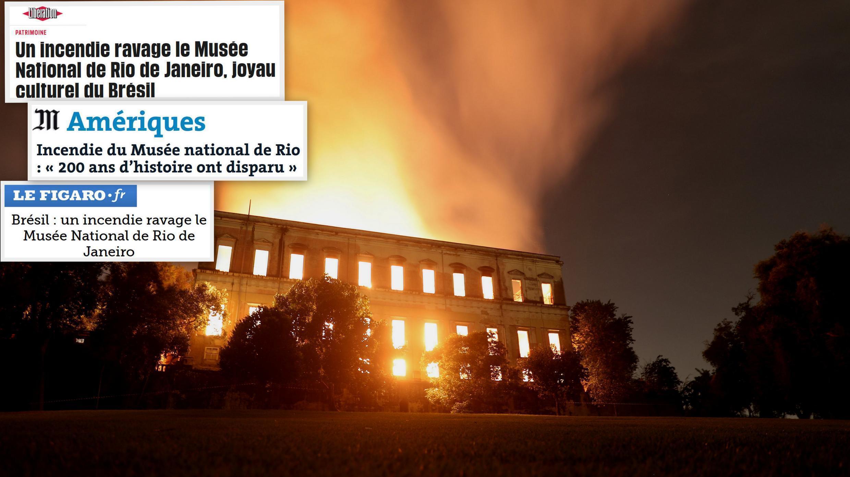 Forte repercussão na imprensa sobre o incêndio que destruiu no domingo o Museu Nacional, na Quinta da Boa Vista, em São Cristóvão, Zona Norte do Rio.