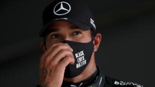 Le Britannique Lewis Hamilton (Mercedes) après les qualifications du Grand Prix du Portugal, le 24 octobre 2020 à Portimao