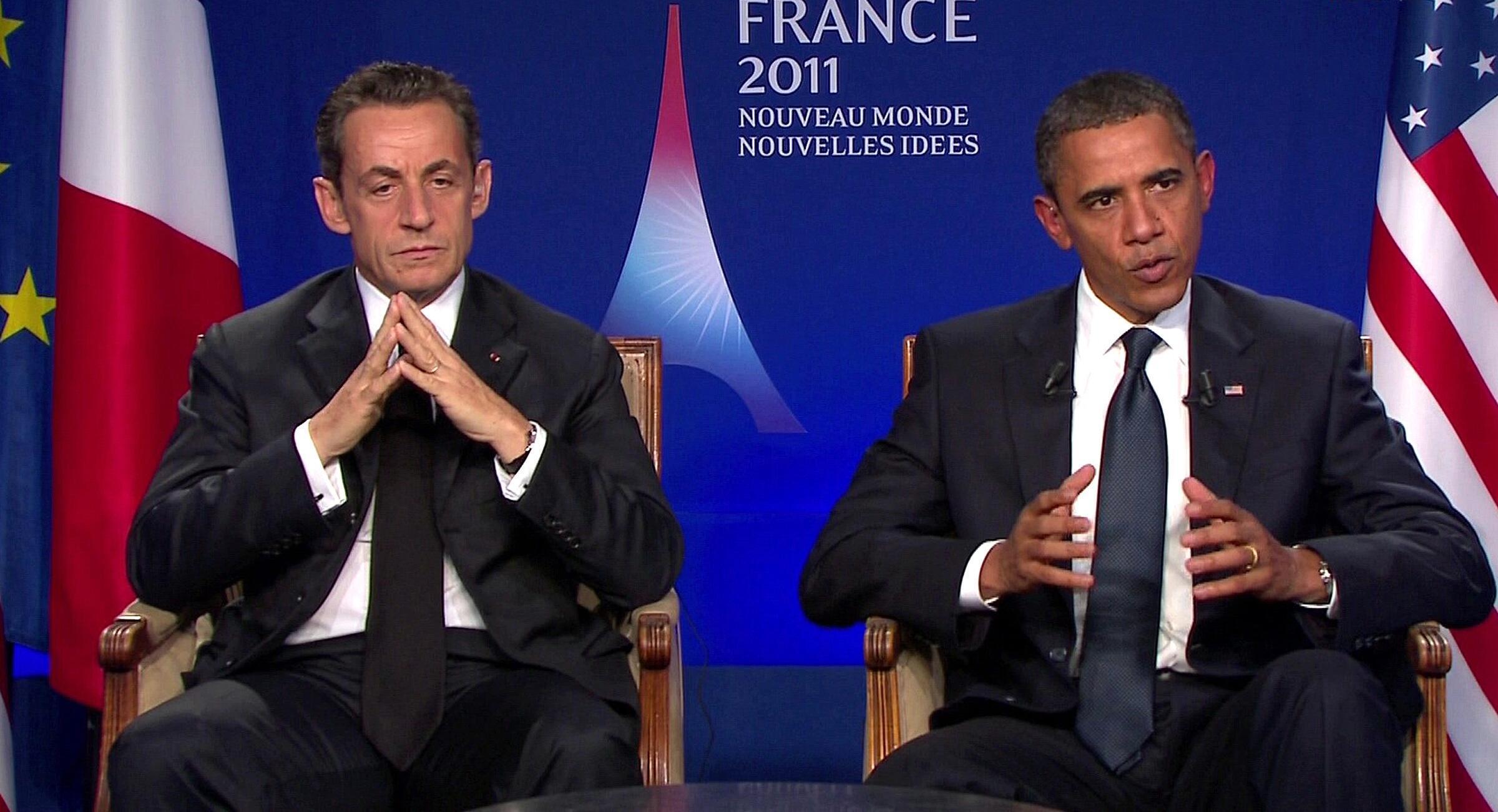 Hai tổng thống N. Sarkozy và B. Obama hôm 4/11/2011 (Reuters)