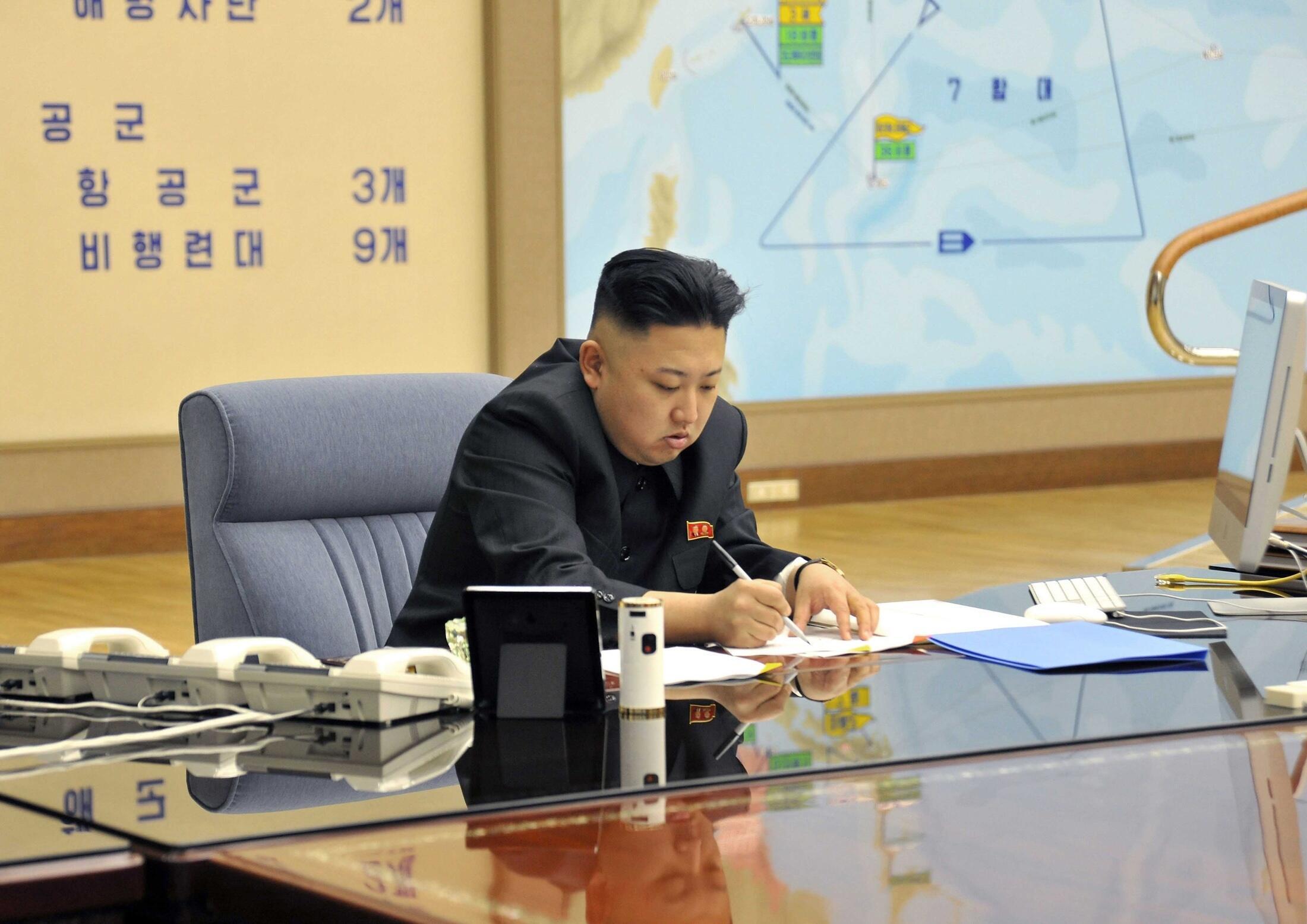 Lãnh đạo Bình Nhưỡng Kim Jong-un. Ảnh do KCNA cung cấp ngày 29/03/2013.