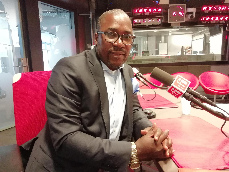 Nkongho Felix Agbor Balla in RFI's studio