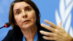 La juge Catherine Marchi-Uhel, à la tête du Mécanisme international impartial et indépendant, lors d'une conférence de presse à Genève, concernant les crimes en Syrie. Photo datée du 5 septembre 2017.