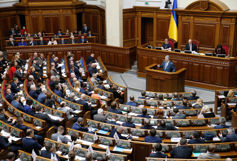 Tổng thống Ukraina Petro Porochenko phát biểu tại Quốc Hội, Kiev, ngày 07/02/2019