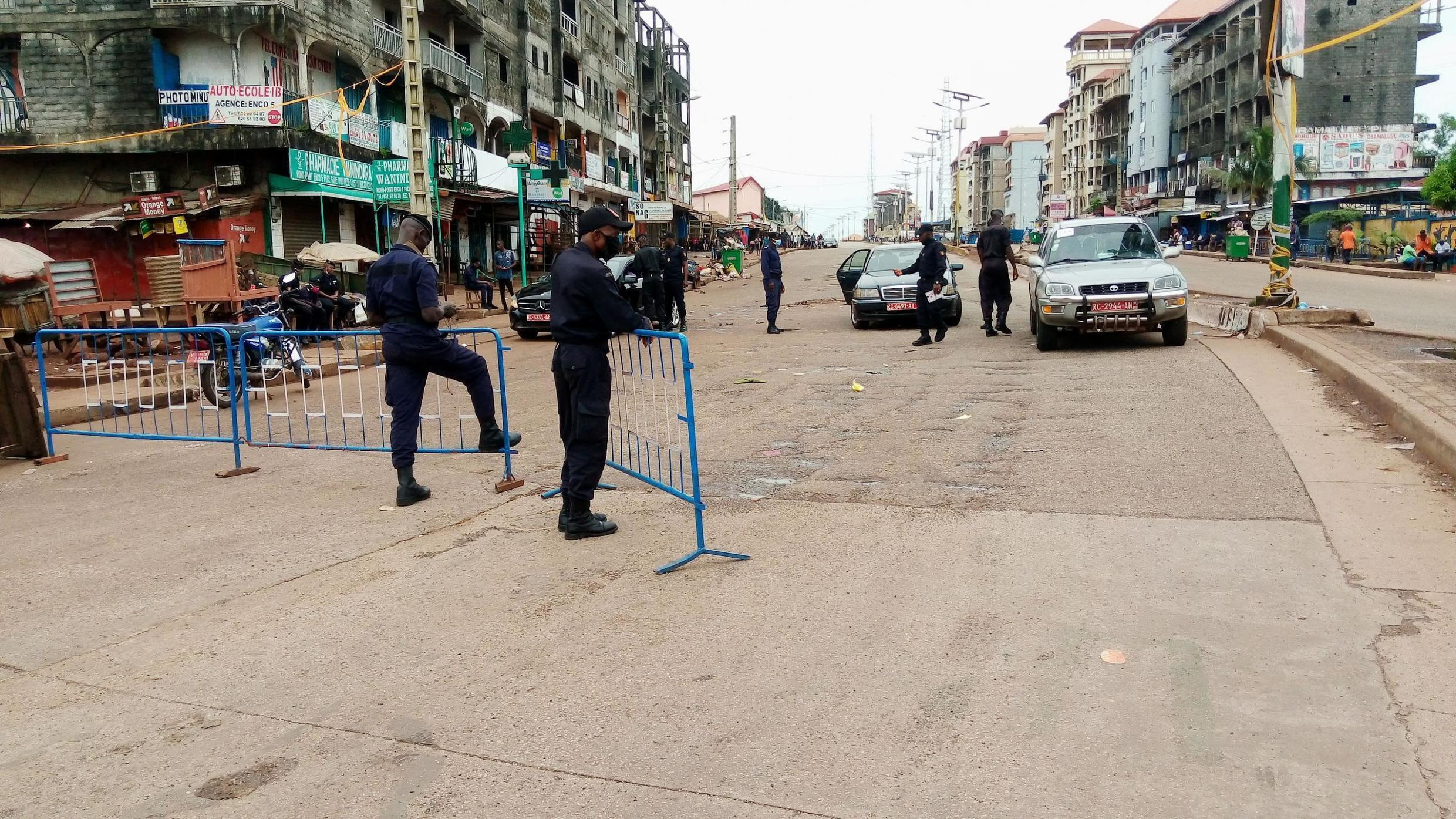 A police checkpoint in Conakry, Guinea, 18 October 2020.